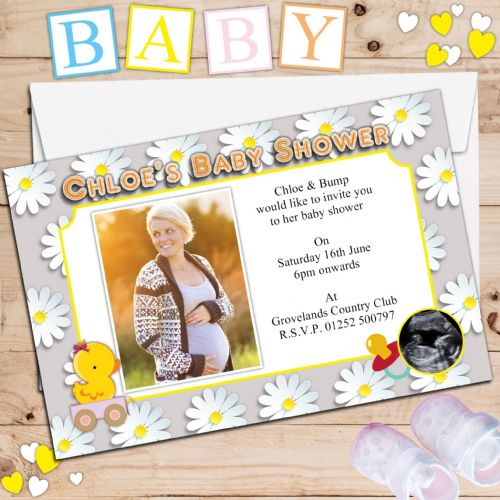 10 Personalised Boy Girl Baby Shower PHOTO Party Invitations N8